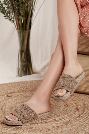 Odal Shoes Kadın Kahverengi Örgü Terlik