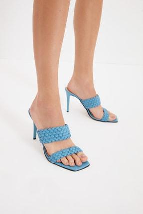 TRENDYOL SHOES Mavi Örgü Detaylı Kadın Terlik TAKSS21TE0070