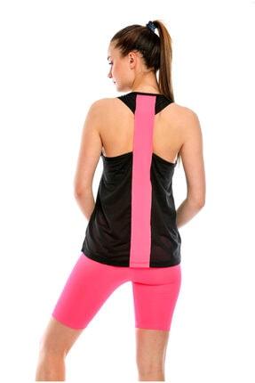 PROSLİM Kadın Sporcu Biker & Atlet File Detaylı Siyah pembe 2 Li Takım