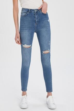 DeFacto Anna Yüksek Bel Super Skinny Fit Yırtık Detaylı Jean Pantolon