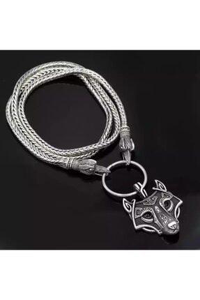 Viking Oidin Iskandinav Kurt Kafası Çelik Kolye