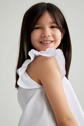 DeFacto Kız Çocuk Kısa Kollu Volanlı Bluz