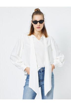 Koton Kadın Gümüş Çizgili Bluz 0YAL68142IW