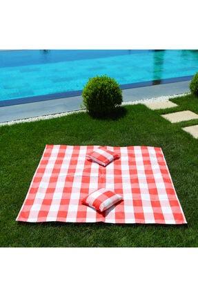 HOMİNG Yastıklı Plaj Piknik Örtüsü 140 X 140 Cm / Su Ve Kum Tutmayan Kumaş Hmy-6216