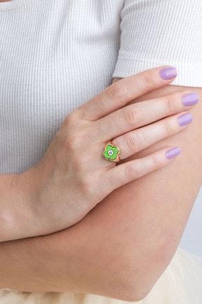 Marjin Kadın Yeşil Mineli Dört Yapraklı Yonca Tasarım Altın Renkli Yüzükyeşil