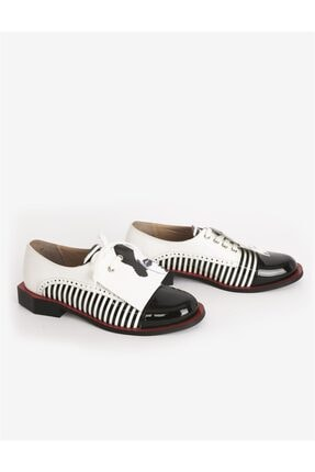 İLVİ Kadın Siyah Beyaz Oxford Ayakkabı