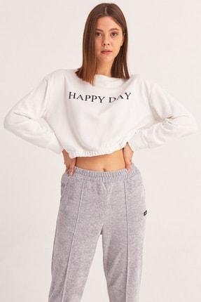 Fulla Moda Happy Day Baskılı Sweatshirt