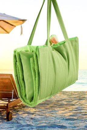 Louis Marie Plaj - Şezlong Havlu Yastıklı Çok Amaçlı Çanta Yastık Takımı Yeşil