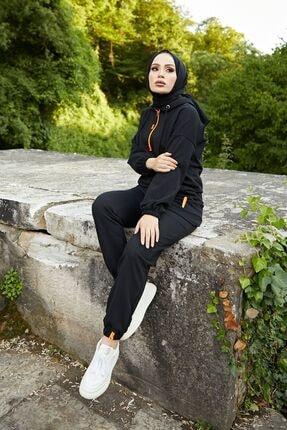 festmoda Kadın Neon Fermuarlı Siyah Ikili Takım