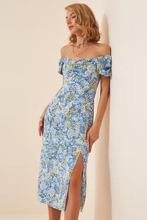Happiness İst. Kadın Mavi Çiçekli Büzgülü Yazlık Viskon Elbise DP00118