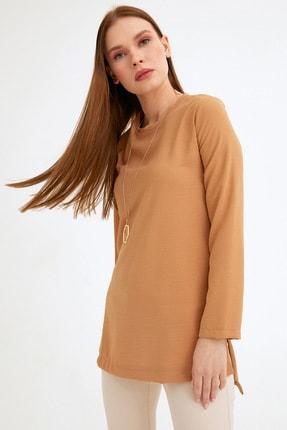 Fulla Moda Kadın Kahverengi Yanı Yırtmaçlı Tunik