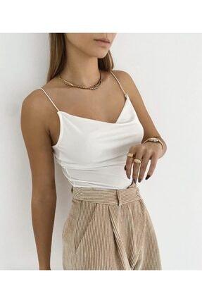 Somut istanbul Kadın Beyaz Degaje Yaka Askılı Bluz