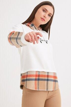 Fulla Moda Ekose Detaylı Kapüşonlu Sweatshirt