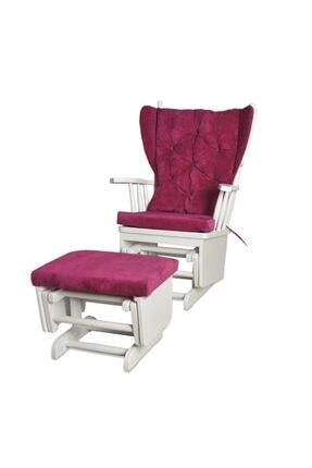 Asedia Mama Puflu Lake Beyaz Fuşya Sallanan Sandalye