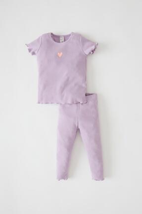 DeFacto Kız Bebek Kalp Baskılı Fitilli Esnek Dokulu Kısa Kollu Pijama Takımı