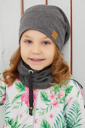 Babygiz Kız Çocuk Füme İpli Şapka Bere Boyunluk Takım Rahat Pamuklu Kaşkorse Yerli Üretim