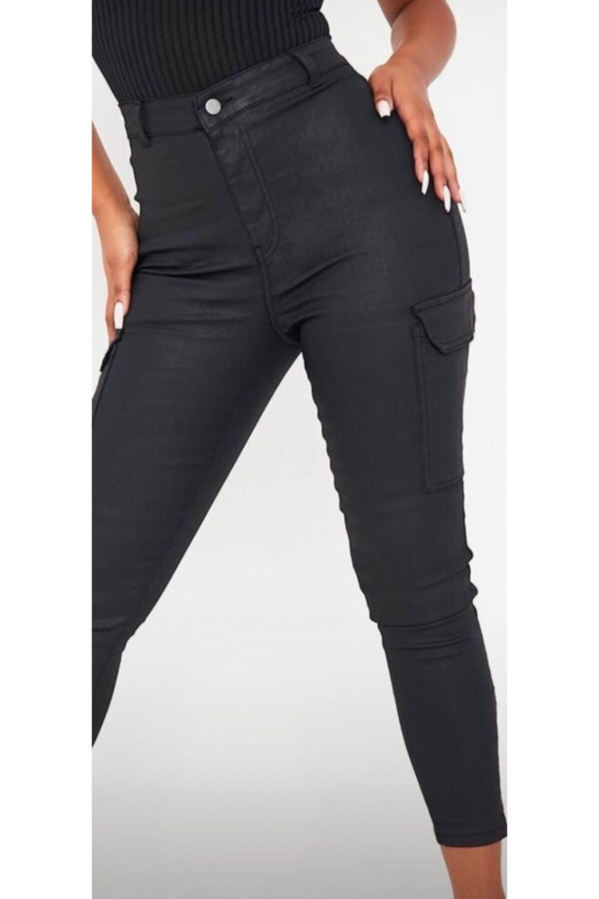 The Ness Collection Siyah Cepli Deri Görünümlü Kadın Kargo Pantolon 2