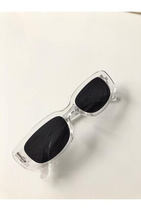 LOOKUP Unisex Şeffaf Kare Dikdörtgen Vintage Güneş Gözlüğü