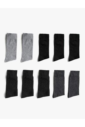 Koton Erkek Antrasit Uzun Çorap Seti Basic