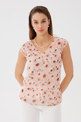Chima Kadın Pembe Çiçek Desenli V Yaka Bluz