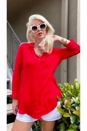 POLO BONETTA Kadın Basic Standart Kalıp Dokuma Viskoz Kumaş Gömlek Bluz