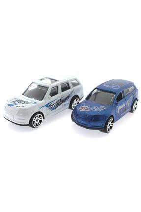 MEGA 2'li Metal Yarış Arabası Seti Beyaz Suvlu