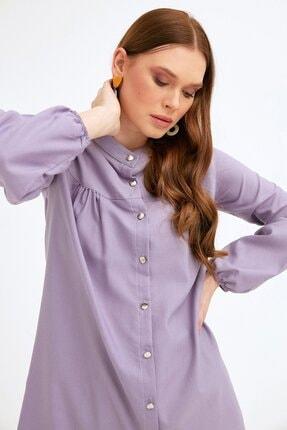 Fulla Moda Kadın Lila Balon Kol Düğmeli Tunik