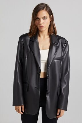 Bershka Suni Deri Blazer Ceket