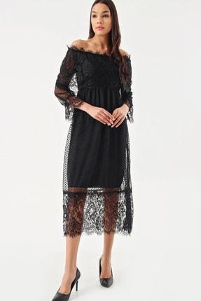 Modakapimda Siyah Güpür Kayık Yaka Elbise
