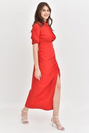 Modakapimda Kırmızı Balon Kol Yırtmaçlı Elbise