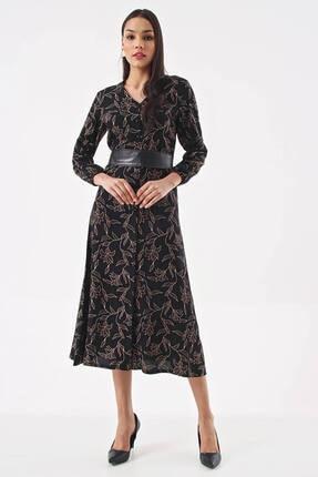 Modakapimda Siyah Kemerli Uzun Gömlek Elbise