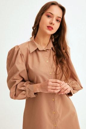 Fulla Moda Kadın Kahverengi Balon Kol Düğmeli Tunik