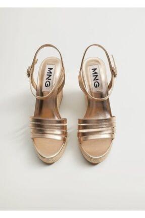 MANGO Woman Bantlı Metalik Dolgu Topuk Sandalet