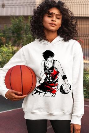 Rock & Roll Kadın Beyaz Yakışıklı Basketci Kapüşonlu Sweatshirt
