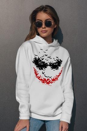 Rock & Roll Kadın Beyaz Yarasa Gülüşü Kapüşonlu Sweatshirt