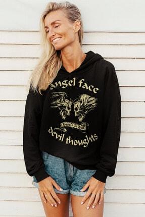 Rock & Roll Kadın Siyah Uzun Melek Şeytan Kapüşonlu Sweatshirt