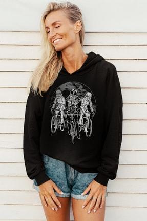 Rock & Roll Kadın Siyah Yıldız Bisikletcileri Kapüşonlu Sweatshirt