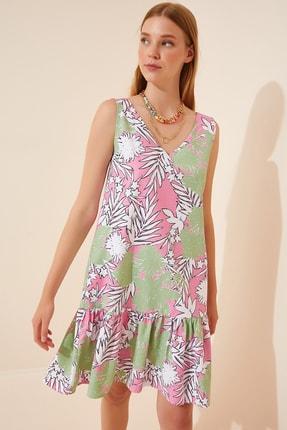 Happiness İst. Kadın Uçuk Yeşil Çiçekli Ön Arka V Yaka Yazlık Poplin Elbise DD00969