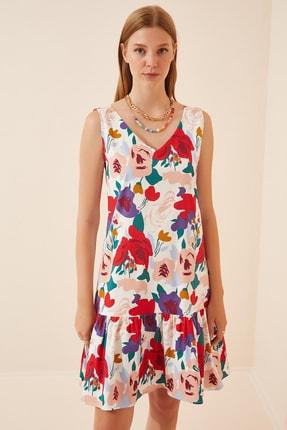 Happiness İst. Kadın Pembe Çiçekli Ön Arka V Yaka Yazlık Poplin Elbise DD00969