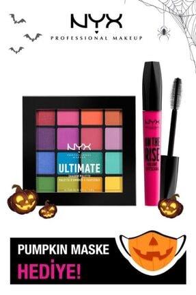 NYX Professional Makeup Ultimate Shadow Plaette Brights Göz Farı Paleti + On The Rise Volume Maskara + Maske Hediye