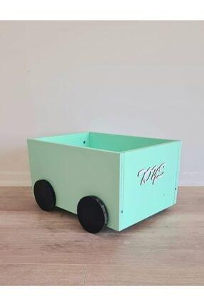 BeeMyBaby Ahşap Tekerlekli Oyuncak Kutusu