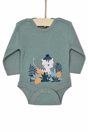 Aziz Bebe Erkek Bebek Çağla Yeşili Badi Kedili