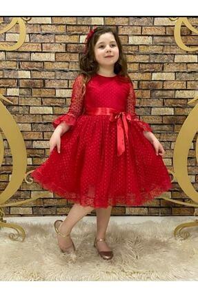 Pumpido Dantelli Kız Çocuk Elbisesi Kırmızı