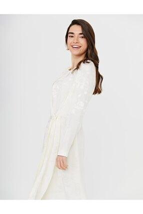 Kayra Jakarlı Sıfır Yaka Elbise Ekru B21 23146