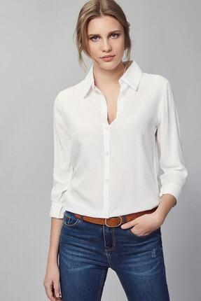 FancyWorld Düz Renk Dokuma Viskon Kumaş Efsane Basic Gömlek Beyaz