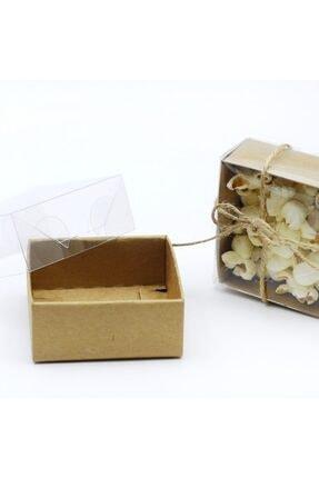 Aker Hediyelik Dört Köşeli Özel Üretimi El Işi Kutusu Kutucuklar 8x8x3 50adet Asetat Kapaklı Karton Kraft Kutu