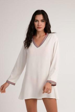 Pattaya Kadın Beyaz Şerit Detaylı Plaj Elbisesi P21s201-2676