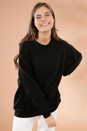 Pattaya Kadın Siyah Basic Uzun Kollu Oversize Sweatshirt P20W-4420