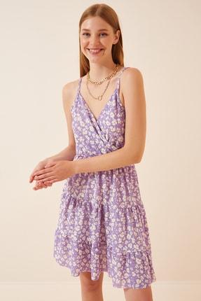 Happiness İst. Kadın Lila Çiçekli Yazlık Mini Örme Elbise GD00035