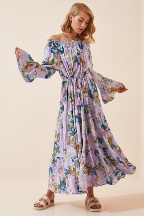 Happiness İst. Kadın Lila İspanyol Kol Oversize Yazlık Viskon Elbise  FN02801